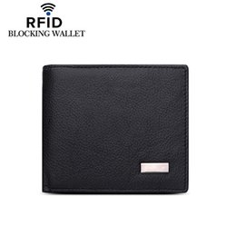 $enCountryForm.capitalKeyWord Canada - RFID Blocking Genuine Cowhide Leather New Men's Wallets Antimagnetic 3 Folds Black Samll Zipper Coin Pocket ID Card Holder Purse