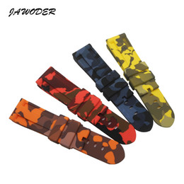 Discount panerai watch band strap 22mm - JAWODER Watchband 24mm (22mm Buckle End) Blue Yellow Red Orange Camouflage Silicone Rubber Diver Watch Band Strap Withou