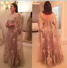 $enCountryForm.capitalKeyWord Canada - 2018 Vintage Lace New Design Cowl Mother's Dresses A Line Long Sleeve with Appliques Plus Size Mother of Bride Gowns for Wedding Custom