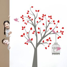 diy nature home decor mural UK - Free shipping New arrival Large Colorful Tree Wall Stickers Kindergarten DIY Art Vinyl Home Decor Mural