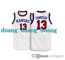 d3d1211a ... 13 Wilt Chamberlain Jersey Kansas Jayhawks Wilt Chamberlain College  Basketball Jersey White Blue Customized Throwback Stitched ...