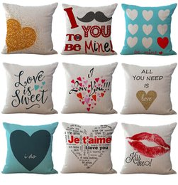 Valentine Pillows Gift Canada - Lover Love you Heart Throw Pillow Cases Cushion Cover Pillowcase Linen Cotton Square Pillow Case Pillowslip Textiles valentine Gift 240458