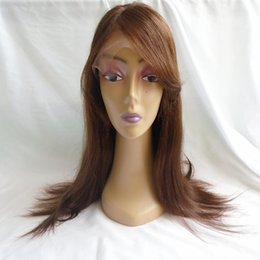 Discount human hair wigs for white women - Glueless Full Lace Wigs With Bangs 4 Brown Straight Indian Virgin Human Hair Lace Front Wigs For Black White Women 8-24