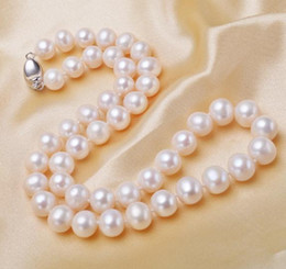 Pearl 17 Inch NZ - 9-10mm White Natural Freshwater Pearl Necklace 17 Inch 925 Silver