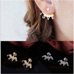 $enCountryForm.capitalKeyWord Canada - Chic Lady Ear Jackets LOVE Gold  Silver Tone Back Hanging Ear Wraps Gothic Style Jewelry Stud Earrings