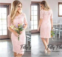 $enCountryForm.capitalKeyWord Australia - 2017 Simple Short Pink Full Lace A Line Bridesmaid Dresses Country Style Crew Neck Half Sleeves Zipper Back Maid of Honor Gowns