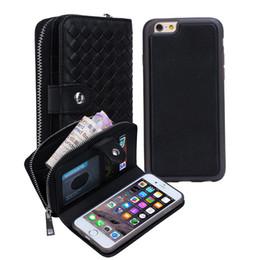 Опт Кожаный чехол-кошелек для iPhone X 8 Plus Съемный слот для карт памяти Защитный чехол для Samsung S9 Plus S7 Edge Сумочка