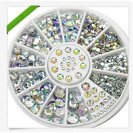 Barato Adesivos De Arte De Unhas 3d Atacado-Atacado 1Pcs Nail Art Tips Crystal Glitter Rhinestone para Nail Water Stickers Alloy 3D Nail Art Rhinestones Decoration + Wheel
