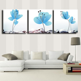 Painting Kitchens NZ - 3 Pcs Set blue flowers Modern Home Wall Decor Canvas Print Painting HD Wall Picture For Kitchen Decorate #92