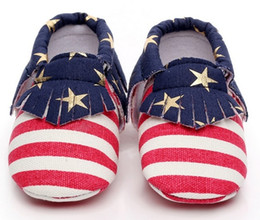 981a60dea8e4 New Striped stars printed infant canvas shoes Tassel newborn first walkers  baby moccasins american flag soft moccs infant prewalker Shoes