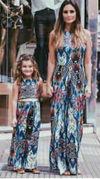$enCountryForm.capitalKeyWord Canada - 2017 Family Matching Outfits Mother And Daughter Summer Sleeveless Dresses Halter Dress Kids Parent Child Dress