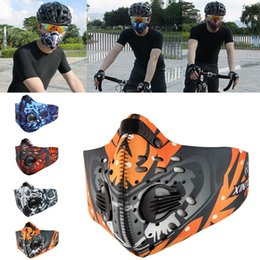 Discount neoprene cycling filter mask - New Fashion Cycling Air Pollution Face Mask Activated Carbon Dust Sports Mask Filters Smog Face Neoprene Mask PM2.5 WX9-