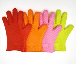 Discount ovens bbq grill - Wholesale food grade Heat Resistant thick Silicone Kitchen barbecue oven glove Cooking BBQ Grill Glove Oven Mitt Baking