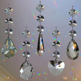 5 pcs Lustres de Cristal Da Lâmpada Prismas Parte Pendurado Pingentes De Vidro Teardrop com Octógono Beads Anéis de Salto de Prata Conector venda por atacado