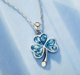 $enCountryForm.capitalKeyWord NZ - Exquisite S925 pure silver flower blue water diamond pendant necklace, this chain is randomly matched