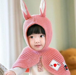 $enCountryForm.capitalKeyWord Canada - Children One-piece Knitted Hat with Shawl Baby Rabbit Winter Hat Baby Hat Infant Scarf X Xmas Gift