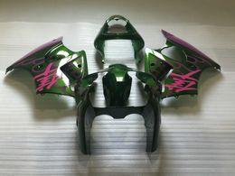 Chinese  High quality Fairing kit for Kawasaki Ninja ZX6R 2000 2001 2002 pink green fairings set ZX6R 00 01 02 OT13 manufacturers