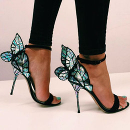 Wholesale Evangeline Angel Wing Gladiator Sandals Women Pink Glitter High Heels Summer Pumps Butterfly Ankle Strap Wedding Shoes Pumps