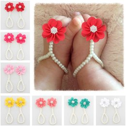pearl flower girl shoes UK - Kids Foot Accessories Fashion Baby Girl Pearl Chiffon Foot Flower Jewelry Shoes Infant Girls Shoes Barefoot Sandals
