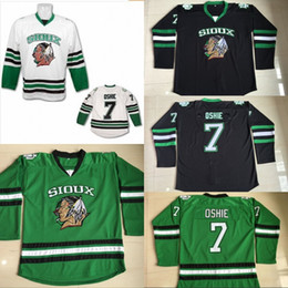 College hoCkey jerseys online shopping - TJ Oshie North Dakota Hockey Jersey Men s Stitched Embroidery Logos Fighting Sioux DAKOTA College Hockey Jerseys Black White Green