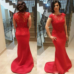 Barato Abendkleider Mini-Vestido Longo Vestidos de noite Red Satin Mermaid Prom Party Mãe da Noiva abendkleider Long Evening Party Vestidos