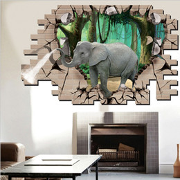 $enCountryForm.capitalKeyWord Canada - 3D Elephant Animal Wall Stickers For Kids Room Bedroom Living Room Decoration Fake Window Wallpapers DIY Home Decor Mural