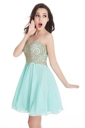 $enCountryForm.capitalKeyWord UK - Different Colors 2017 Real Photos Lovely Sweetheart Gold Lace Mint Green Chiffon Bridesmaid Dresses Short Party Dress CPS406