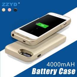 Discount cell phone external battery banks - ZZYD Portable 4000 mah Power Bank Case Mobile Phone External Battery Case For iP 6 7 8 plus Cell Phone