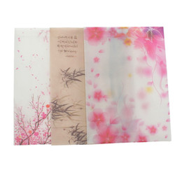 China Wholesale-5pcs pack Sakura Blossom Pink Japan Cherry Painting Design Artificial Parchment Paper Envelope School Office Supplies Gifts cheap painting designs paper suppliers