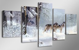 $enCountryForm.capitalKeyWord Canada - Wholesale Modern Canvas Oil Painting Snow Wolf Landscape Home Decoration High Quality Canvas Wall Decoration Picture Unframed