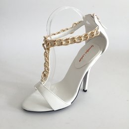 grapes shoes UK - White T-strap Shoes Wedding Sandal Open Toe High Heels Ankle Chain Summer Sandals High Heel Shoes Bridal Plus Size EU34-46 Custom Colors
