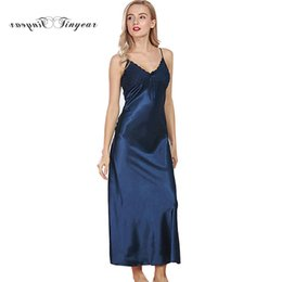 wholesale elegant women long silk nightgowns lace V-neck Sleeveless M-XL  Sexy Silk Nighties Baby doll Lingerie 6 Colors optional dbcf2aef6