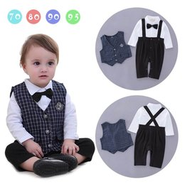 Barato Laço Do Bebê Um-Baby Boys Rompers Tie Gentleman Infant Long Sleeve One Piece Jumpsuits + Blue Plaid Vest Kids Clothing 3-18M E13980