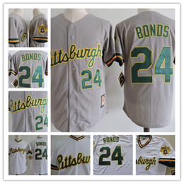 61669d472 ... Mens white green Pullover 24 Barry Bonds Pittsburgh Pirates baseball  Jersey stitched Grey green button Barry ...