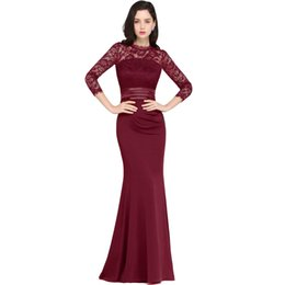 Barato Vestidos Noche Prom-Cheap Black Mermaid Long Evening Dresses 2017 Satin Lace O Neck Zipper-Up Andar Comprimento <b>Vestidos Noche Prom</b> Gowns Under 30 CPS613
