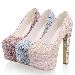 $enCountryForm.capitalKeyWord NZ - SJJH fashion women bling high heel pumps with 15cm height stelitto and 5cm platform wedding party shoes PP039