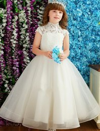 Flower Girl Dresses For Vintage Wedding Square Neck Big Bow Sash Floor Long Little Child Pageant Party Gowns Cheap