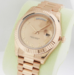 Ship Free Mens Wrist Watches Australia - Free shipping Men's Wrist Watches 218235 Day Date II 18k Rose Gold Champagne Roman Dial President Luxury Mechanical Automatic Mens Watch
