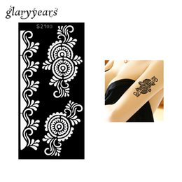 Drawing Women Tattoo Canada - Wholesale-1 Piece Spindrift Flower Wave Henna Tattoo Stencil Drawing for Beauty Women Arm Art Airbrush Painting Henna Tattoo Stencil S2100