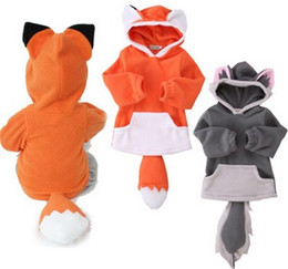 Chapeau De Conception Pour Enfants Pas Cher-2017 Nouveau Printemps Baby Girls Boys Fox Cute Design Outwears Enfants Cartoon Fox Fox Hoodies avec la queue Hat Hat Enfants Coton Manteaux B4417