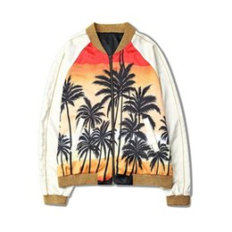 Chinese  Fashion Justin Bieber Jacket Men Women Fashion Hawaii Skateboard Coconut tree baseball jacket Hip Hop Outerwear MA1 Coat manufacturers