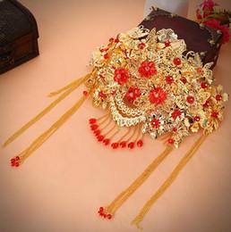 ancient chinese headdress 2019 - Bridal headdress red ancient costume tassel comb Chinese wedding hair accessories GZ06 discount ancient chinese headdres