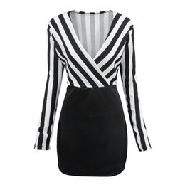 Vertical Stripe Dresses Canada - Ladies autumn dress deep V collar vertical stripe mosaic Sexy Long Sleeve Dress