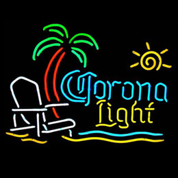 Green Office Chairs Canada - Fashion Handcraft Corona Beach Chair and Palm Tree Real Glass Tubes Beer Bar Pub Display neon sign 19x15!!!Best Offer!