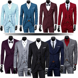 Discount dress jacket sets - Wholesale- Mens Three Piece Classic Set Vest Formal Working Jacket Groom Wedding Dress Suit (jacket + pants + + vest)