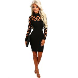 Blue Hollow Canada - Hollow Out Mesh Club Party Dresses Lady Long Sleeve Bandage Bodycon Dress Women Summer 2017 Mini Midi Dress Black Red Blue Green