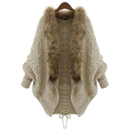 Poncho De Fourrure Taille Plus Pas Cher-Summer Cardigan Sweater Femme Poncho Fur Collar Batwing Sleeve Pulls oversize Long Sueter Mujer Plus Size