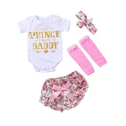 Noms De Bébés Pas Cher-Baby Girl 4pcs Ensembles de vêtements Infant INS Onesies Romper + shorts floraux + Headband + leggings Set J'ai trouvé ma princesse Son nom est Daddy K041