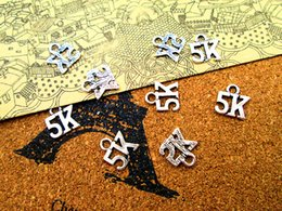 Running Charms Wholesale Australia - 50pcs-- 5K Charms Antique Tibetan silver Running Marathon Charms pendants ,DIY Supplies 11mm x 10mm