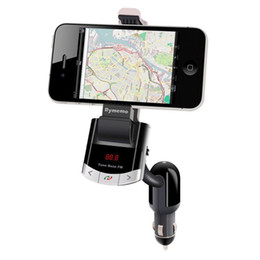 Wholesale Bluetooth FM Transmitter Car Kit Phone Mount Holder Bracket Cellphone for iphone Samsung Stand With Handsfree Call Car charger